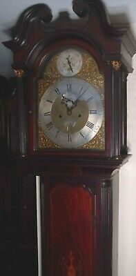 "Antique Mahogany 8 Day  Brass Dial ""  London "" Longcase / Grandfather Clock"