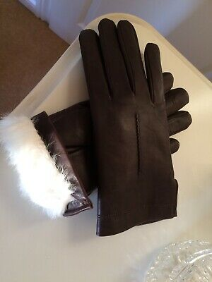 Stunning  Brown Leather Gloves with White Rabbit Fur Lining Size M/L