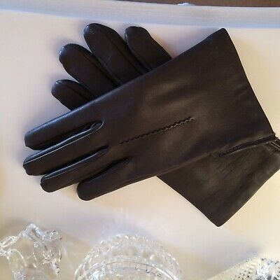 Stunning  Brown Leather Gloves  Lined Hand Stitched Hem  Size M/L