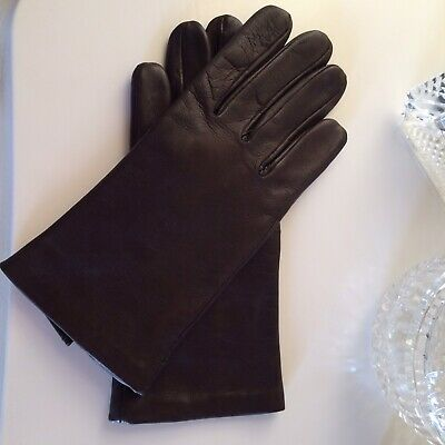 Stunning Plain Brown Leather Gloves  Lined Hand Stitched Hem  Size S/M