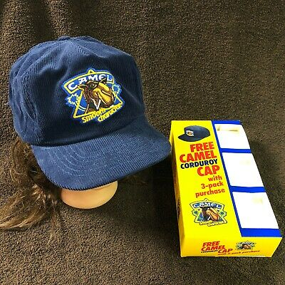 Vtg 1990 Promo Joe CAMEL Cigarettes Smooth Corduroy Snapback Hat Baseball Cap