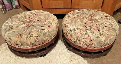 Pair Of Antique/Vintage Foot Stools / Round Stunning