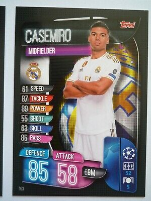 Topps Match Attax 2019/20 Real Madrid Casemiro Card Comb P&P