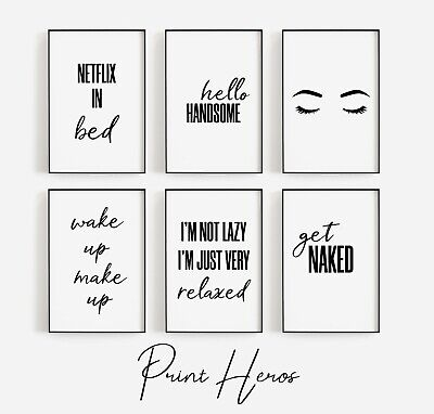 Bedroom Room Prints Black and White Funny Bathroom Wall Art  Pictures ** 3 FOR 2