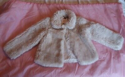 Marks & Spencer Autograph Girls beige fluffy jacket Coat Age 7-8 good cond M&S