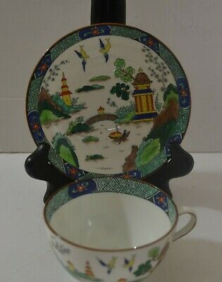 Antique Hand Painted Aynsley Chinese Willow Cup With Saucer
