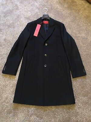 Hugo Boss Mens Smart Black Coat Regular Fit Size Large Rrp £369 New With Tags