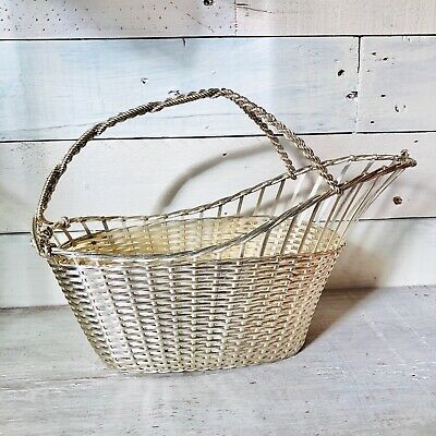 Vintage Woven Silverplate Wine Bottle Pouring Basket By Primrose Plate In France
