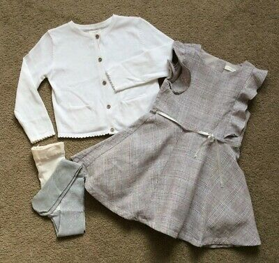 Next Girl's Light Beige Dress and White Cardigan Set Age 1.5 - 2 Years