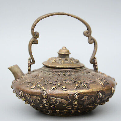 Collection Qianlong Years China Old Copper Hand-Carved Delicate 12 Zodiac Teapot