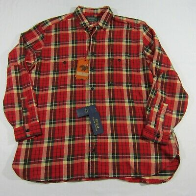 NWT $168.00 Polo Country Ralph Lauren Mens Adirondack Plaid Flannel Red B&T 1XB