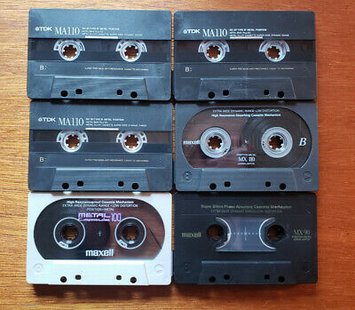 Lot 6 Used METAL Blank Audio Cassette Tapes Maxell MX 90 100 110 TDK MA 110