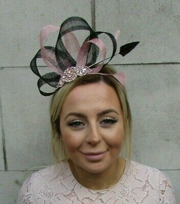 Rose Gold Dusky Blush Pink Black Fascinator Feather Sinamay Ladies Day Hair 7908