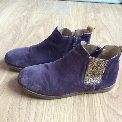 Girls Mini Boden Purple & Gold Suede  Chelsea Ankle Boots Size 39 Or 6