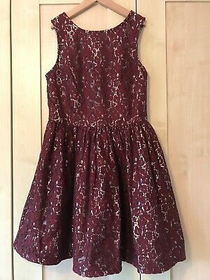 M&S girls party dress - Age 9-10 Years - Silver Lace Red Christmas