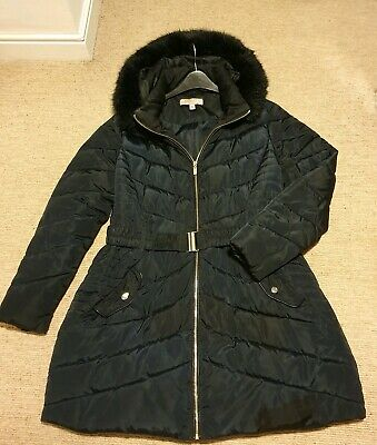 Dorothy perkins Size 14 Maternity Black Winter Coat Padded Quilted Belted