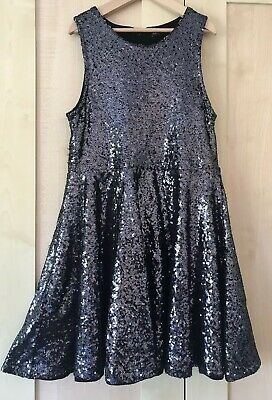 M&S Girls Sequin  Party Dress - age 10-11 years - Silver Grey Christmas