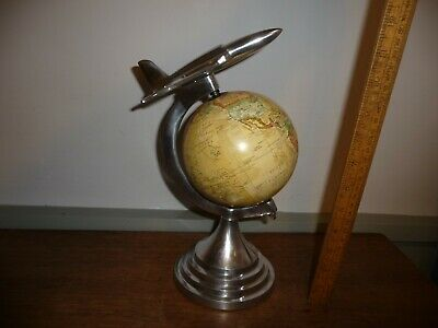 Vintage / Retro style Desk top Globe with Chrome Jet flying over -5 in. Globe .