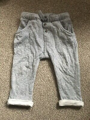 H & M Baby Boy Grey Cotton Joggers Trousers Pants In Sz 12-18 Months