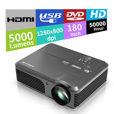 Home Theater Projector 1080P LED Movie Game Xbox Party USB HDMI VGA AV 5000LM AU