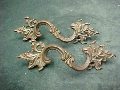 Large Pair Cast Brass French Provincial Drawer Pulls Handles Impressive