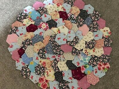 Beautiful Selection Of Ready Tacked  Small Patchwork Hexagons X 100  Brand New
