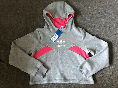 LS4 BNWT ADIDAS Grey And Pink Cropped Hoodie Jumper Size 11-12 Years £35