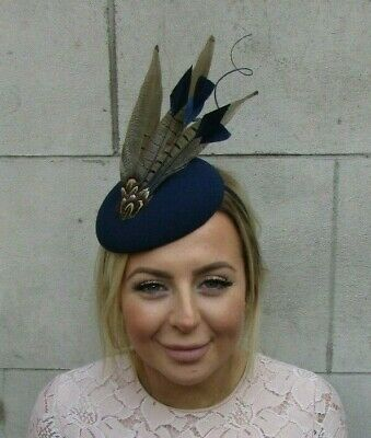 Navy Blue Brown Pheasant Feather Pillbox Hat Fascinator Races Wedding Hair 7919