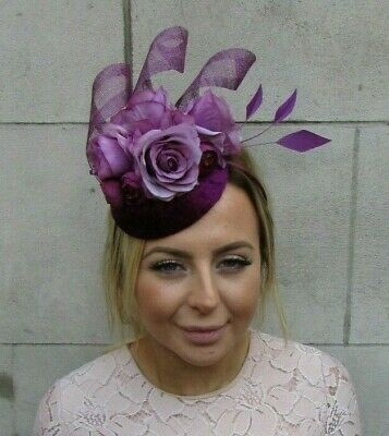 Plum & Mauve Grape Purple Flower Feather Pillbox Hat Fascinator Hair Piece 7921