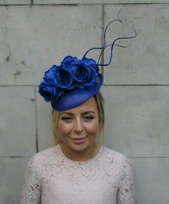Royal Blue Rose Flower Feather Disc Saucer Hat Fascinator Races Wedding 7922