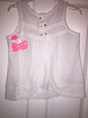 Broderie Anglaise White Cotton Button Top Waistcoat Top Age 14 BNWT HM