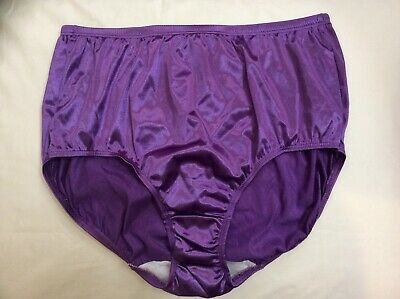 Vintage Hanes Purple Satin Stretchy Shiny High Waisted Panties Silky Size 7