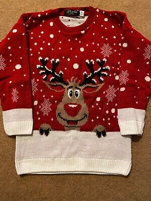 Childs Red Reindeer Christmas Jumper Age 5-6