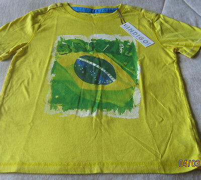 RRP €14 M&S INDIGO Boys YELLOW BRAZIL T SHIRT WORD CUP age 9 10 NEW WITH TAGS