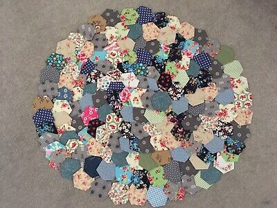 160 x GORGEOUS NEW READY TACKED PATCHWORK HEXAGONS  INC ROSE & HUBBLE FABRICS