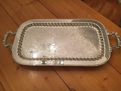 Vintage Leonard Silver Plate Footed Serving Tray - English Silver MFG. Corp.