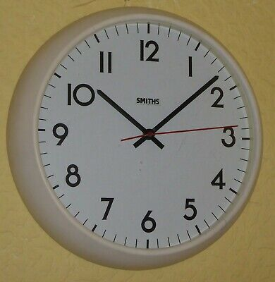 "Vintage Smiths electric school clock, white bakelite, 14"" diam. SPARES / REPAIRS"