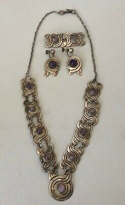 Vtg R.rivera Mexico Taxco 925 Sterling Silver Amethyst Necklace Earrings Brooch