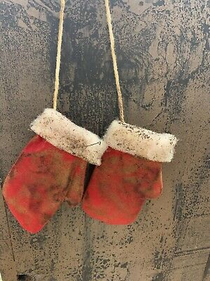 Primitive Handmade Mitten Hanging Ornaments OOAK Artist Made