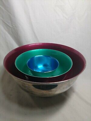 SET OF 3 Paul Revere REED & BARTON SILVER PLATED BOWLS BLUE Red Green ENAMELED