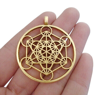 6pcs Silver//Gold Tone Large Archangel Metatron Cube Symbol Round Charms Pendants