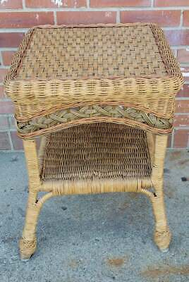 Vintage Rattan Wicker Side Table 2 Tier Green Red Brown 16.5x16.5x22