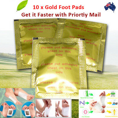 10 Detox Gold Kinoki Foot Patch Pad Natural Plant Herbal Toxin Removal Free Ship