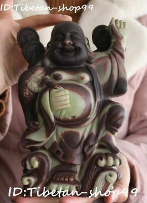 Natural Purple Jade Wealth Golden Toad Stand Happy Laugh Maitreya Buddha Statue