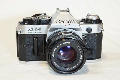 Canon AE-1 Program 35mm SLR Film Camera with FD 50mm f/1.8 Lens - Tested!