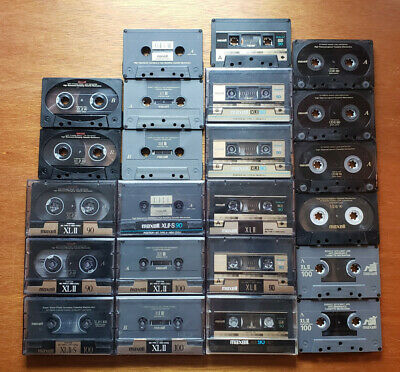 23 Used Blank Audio Cassette Tape Lot Maxell XLII S UDII 90 100 High Bias Japan