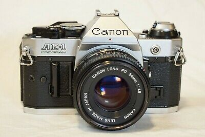 Canon AE-1 Program 35mm SLR Film Camera with 50mm f/1.8 FD Prime Lens - Tested!