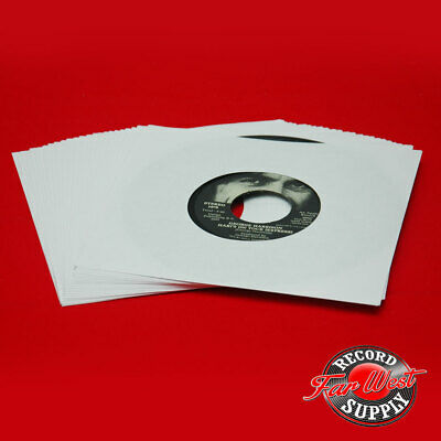 "(50) 7"" Record Sleeves 45rpm White Paper 20# Acid Free ARCHIVAL"