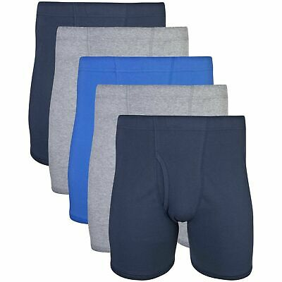 Gildan Men's Covered Waistband Boxer Brief 5 Pack, Mixed Royal, X-Large