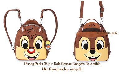 NWT! Loungefly Disney Parks Chip 'n Dale Rescue Rangers Reversible Mini Backpack